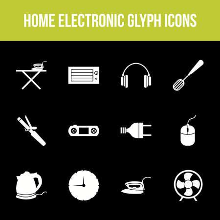 Unique home electronic vector glyph icon set Ilustração
