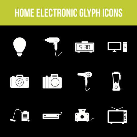Unique home electronic vector glyph icon set