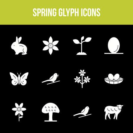 Unique spring vector glyph icon set