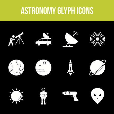 Unique astronomy vector glyph icon set Illusztráció