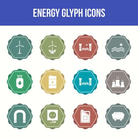 Unique energy vector glyph icon set