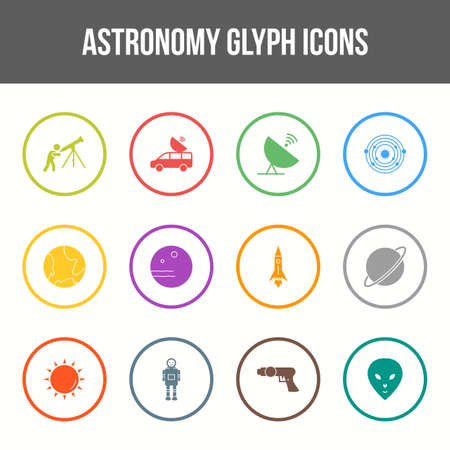 Unique astronomy vector glyph icon set