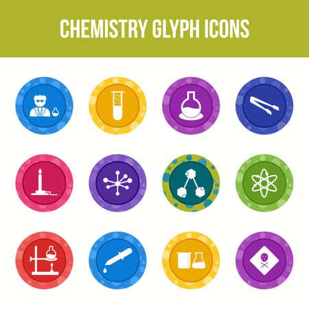 Unique chemistry vector glyph icon set