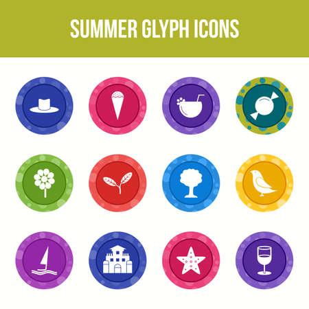 Unique summer vector glyph icon set Vetores