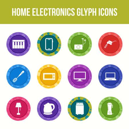 Unique home electronics vector glyph icon set