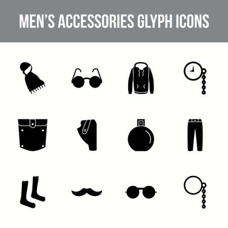 Unique men's accessories vector glyph icon set Vettoriali