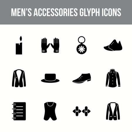 Unique men's accessories vector glyph icon set