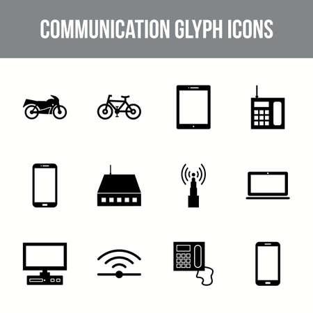 Unique communication vector glyph icon set
