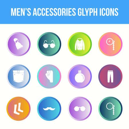 Unique men's accessories vector glyph icon set Vettoriali