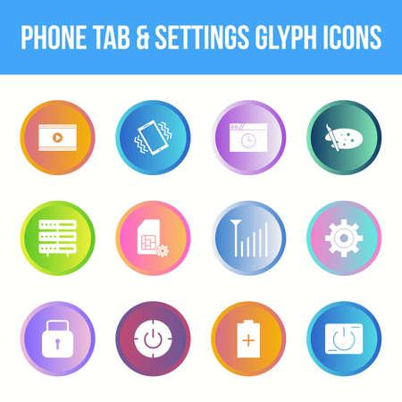 Unique phone tab & settings vector glyph icon set