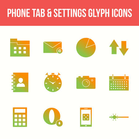 Unique phone tab & settings vector glyph icon set