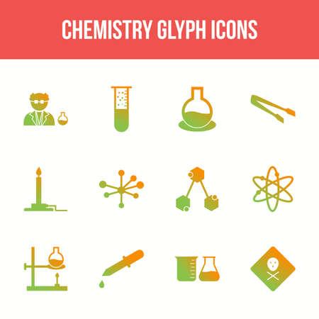 Unique chemistry vector glyph icon set Illustration