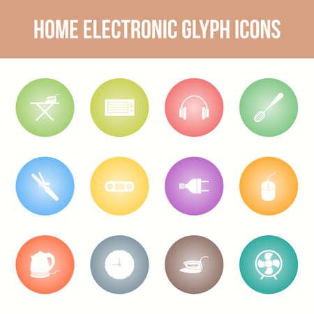 Unique home electronic vector glyph icon set Ilustracja