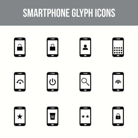 Unique smartphone vector glyph icon set
