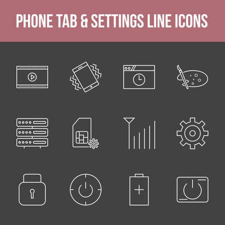 Unique phone tab & settings vector line icon set