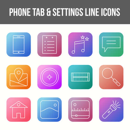 Unique phone tab & settings vector line icon set 版權商用圖片 - 148430253