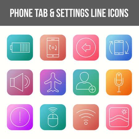 Unique phone tab & settings vector line icon set 版權商用圖片 - 148430256