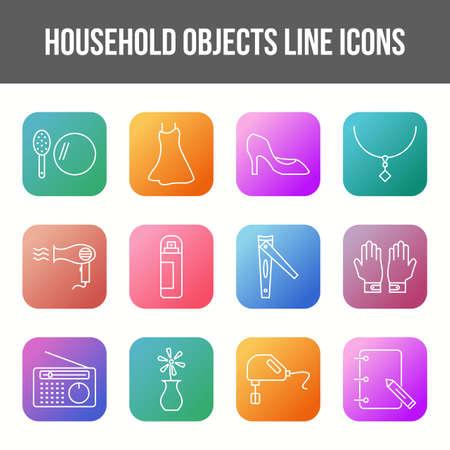 Unique household objects vector line icon set 版權商用圖片 - 148430264