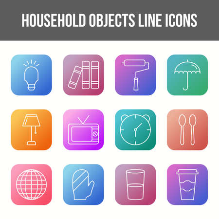 Unique household objects vector line icon set 版權商用圖片 - 148430268