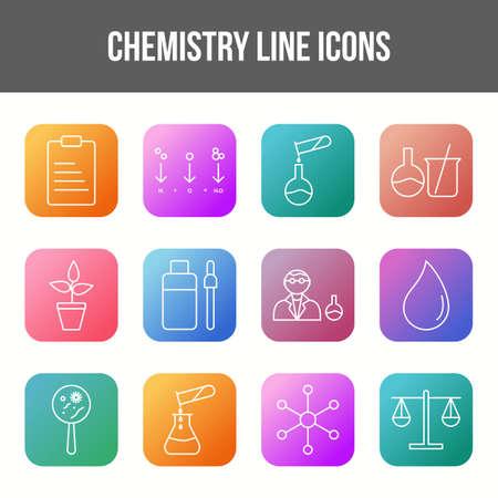 Unique chemistry vector line icon set