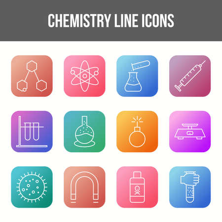 Unique chemistry vector line icon set