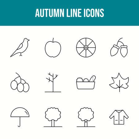 Unique autumn vector line icon set 版權商用圖片 - 148430335