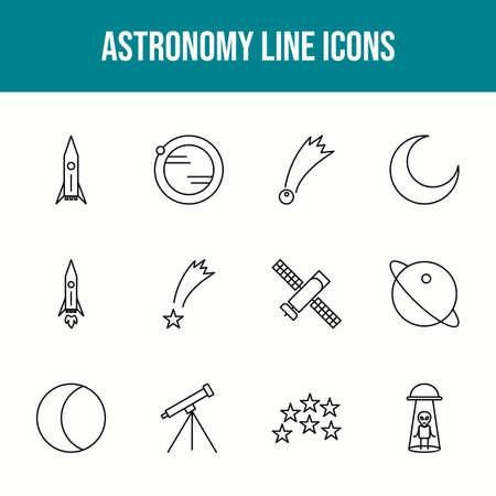 Unique astronomy vector line icon set 版權商用圖片 - 148430343