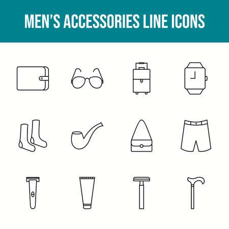 Unique men's accessories vector line icon set 版權商用圖片 - 148430344