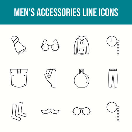 Unique men's accessories vector line icon set 版權商用圖片 - 148430345