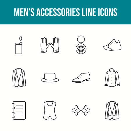 Unique men's accessories vector line icon set 版權商用圖片 - 148430346