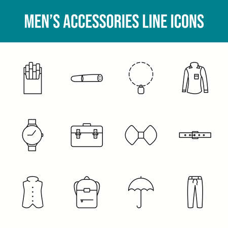 Unique men's accessories vector line icon set 版權商用圖片 - 148430347