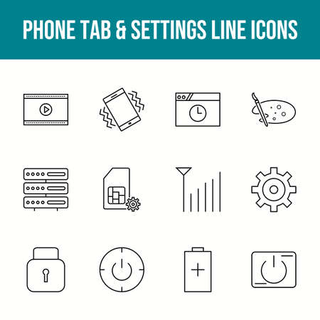 Unique phone tab & settings vector line icon set 版權商用圖片 - 148430348