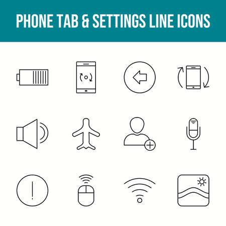 Unique phone tab & settings vector line icon set