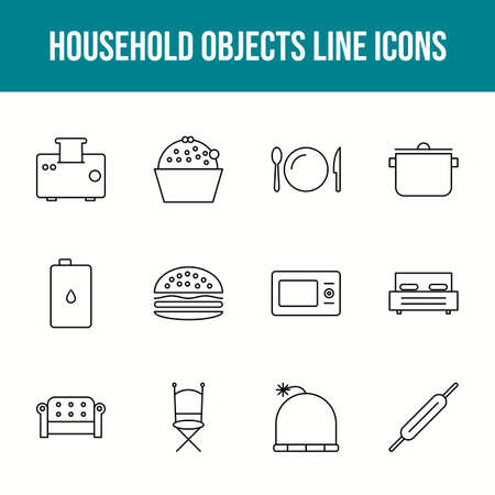 Unique household objects vector line icon set 版權商用圖片 - 148430420