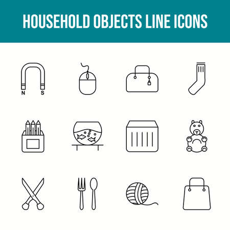 Unique household objects vector line icon set 版權商用圖片 - 148430422