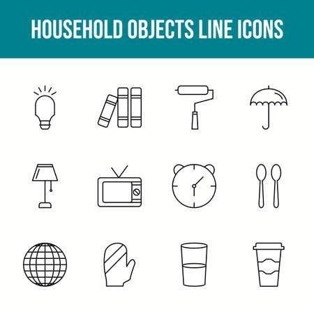 Unique household objects vector line icon set 版權商用圖片 - 148430465