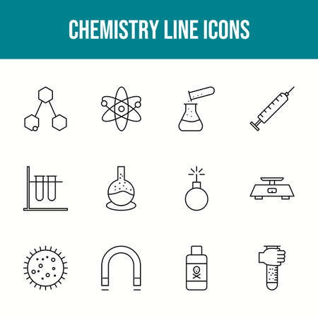Unique chemistry vector line icon set 版權商用圖片 - 148430467