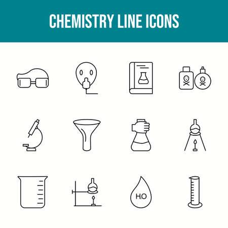Unique chemistry vector line icon set 版權商用圖片 - 148430470