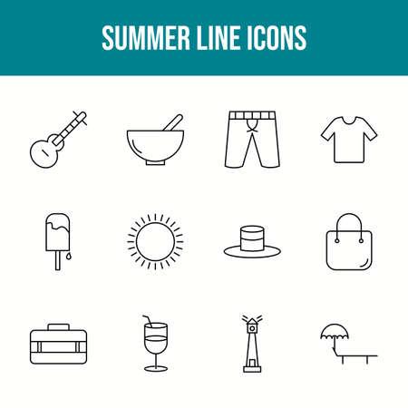 Unique summer vector line icon set 版權商用圖片 - 148430485