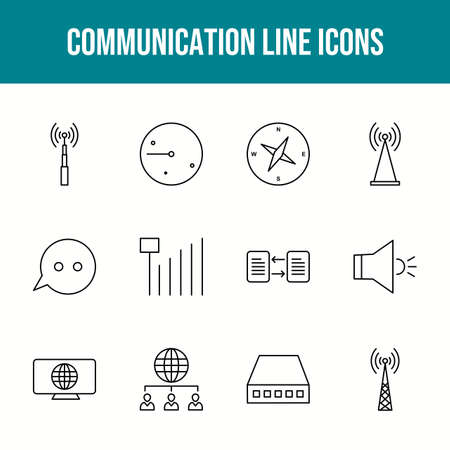 Unique communication vector line icon set 版權商用圖片 - 148430473