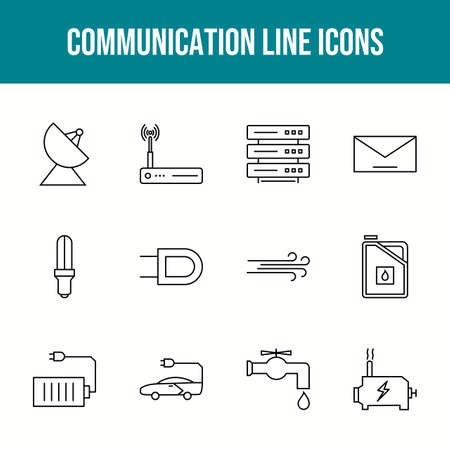 Unique communication vector line icon set 版權商用圖片 - 148430475