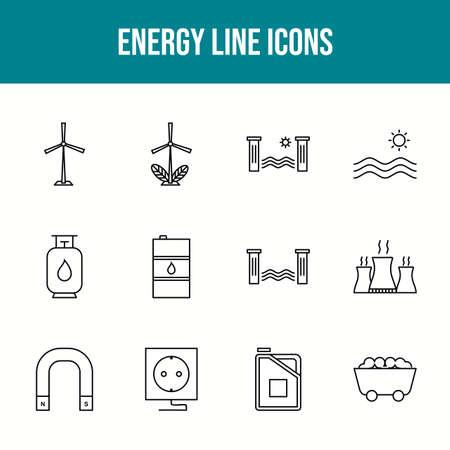 Unique energy vector line icon set