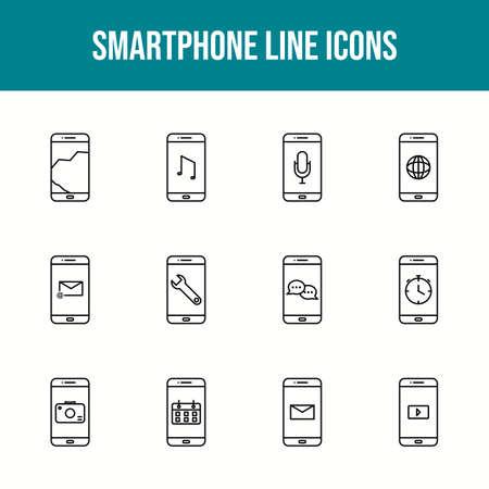 Unique smartphone vector line icon set 版權商用圖片 - 148430481