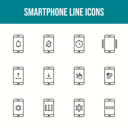 Unique smartphone vector line icon set