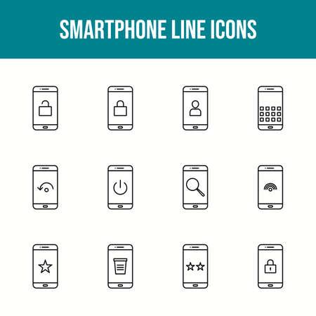 Unique smartphone vector line icon set 版權商用圖片 - 148430537