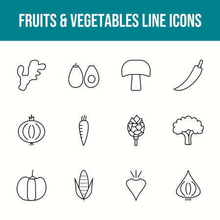 Unique fruits & vegetables vector line icon set 版權商用圖片 - 148430544