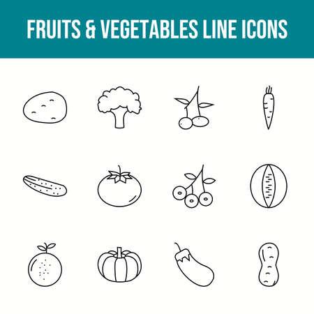 Unique fruits & vegetables vector line icon set 版權商用圖片 - 148430546