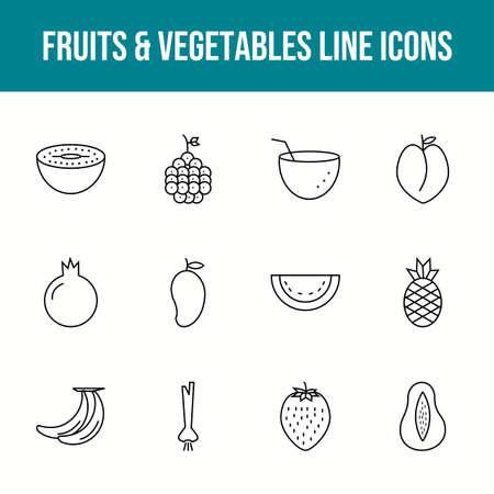 Unique fruits & vegetables vector line icon set 版權商用圖片 - 148430548