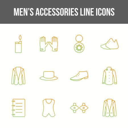 Unique men's accessories vector line icon set Ilustración de vector