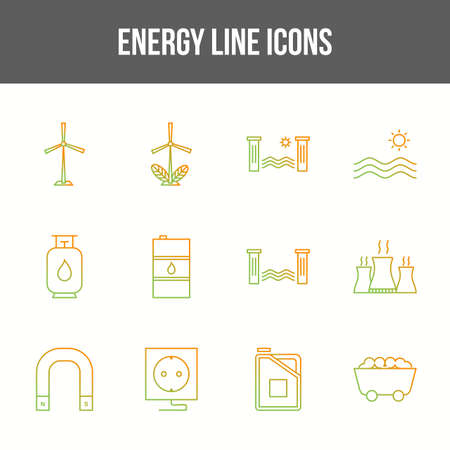 Unique energy vector line icon set 版權商用圖片 - 148430552